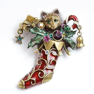 cat pin christmas pin cat brooch cat jewelry christmas stocking pin - Christmas Pins