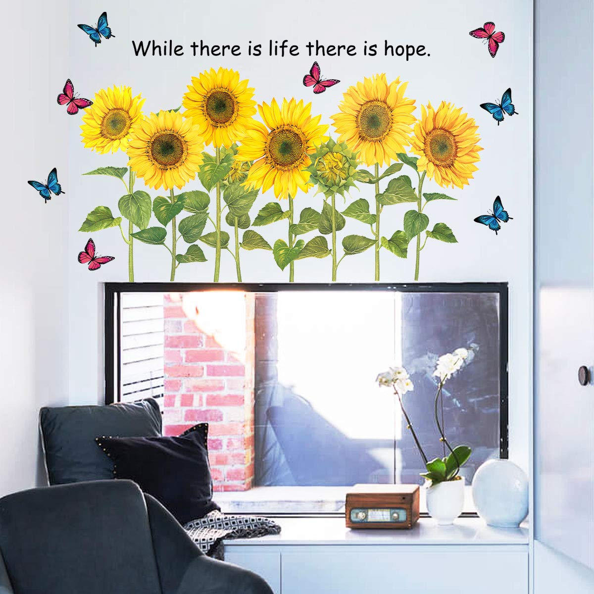 MOTASOM Removable PVC Flower Plant Leaf Peel and Stick Wall Stickers Sunflower and Butterfly Wall Decals DIY Wall Art Decor Home Decoration for Kids Baby Living Room TV Background Bedroom