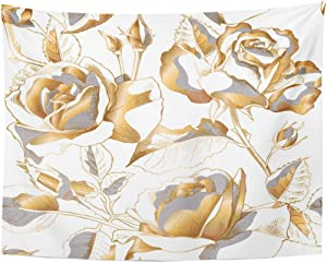 Emvency Tapestry Black Floral with Gold Rose Flowers Leaves and Buds on White Golden Leaf Home Decor Wall Hanging for Living Room Bedroom Dorm 60x80 inches