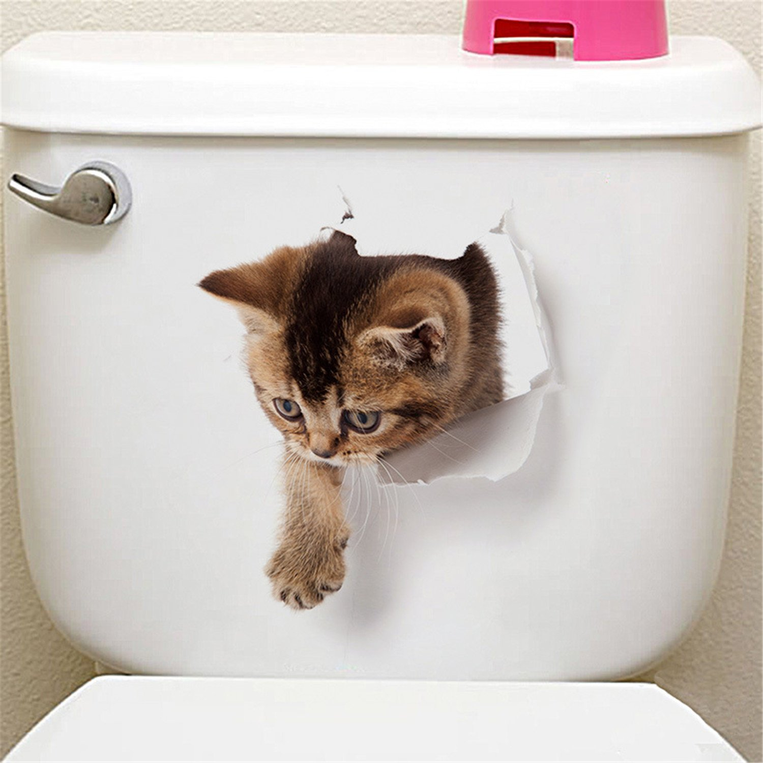 Cats 3D Wall Sticker Toilet Stickers Hole View Vivid Dogs Bathroom Home Decoration Animal Vinyl Decals Art Sticker Wall Poster Cat 11