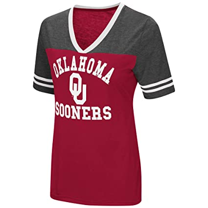 c73a6e1aba5 Colosseum Ladies Oklahoma Sooners Smaller Fit Whole Package Synthetic V  Neck T Shirt (M=