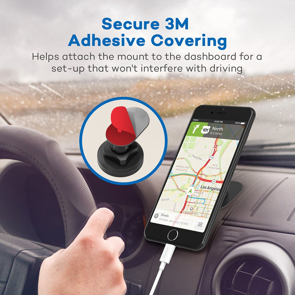 VAVA Magnetic Phone Holder for Car, Universal Stick On Dashboard Magnetic Car Phone Mount (360° Adjustable Holder with 3M Adhesive Covering and Two Metal Plates; Quick and Easy Installation) by VAVA (Image #3)