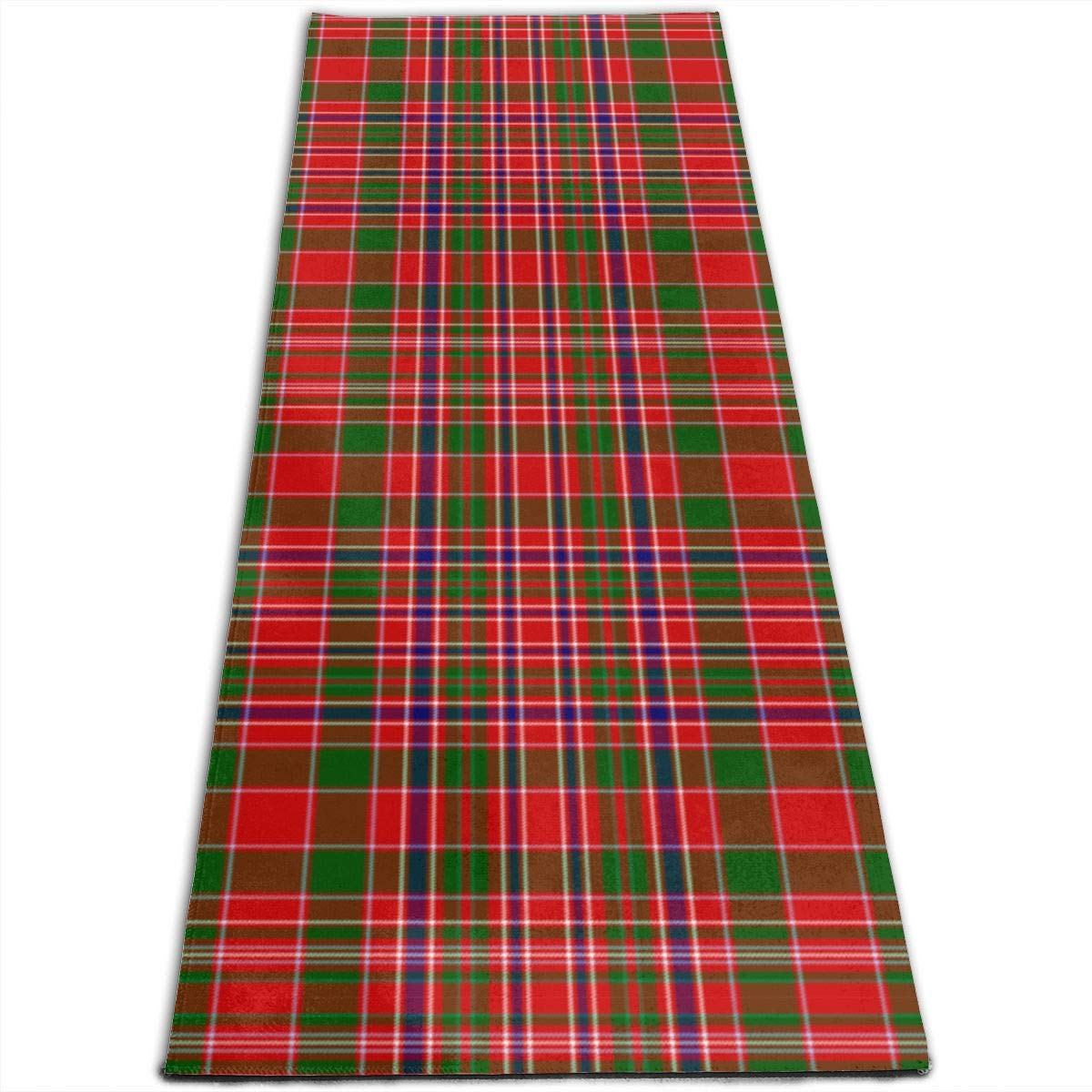 Amazon.com: Scottish Plaid Red Green Pattern Printed Yoga ...