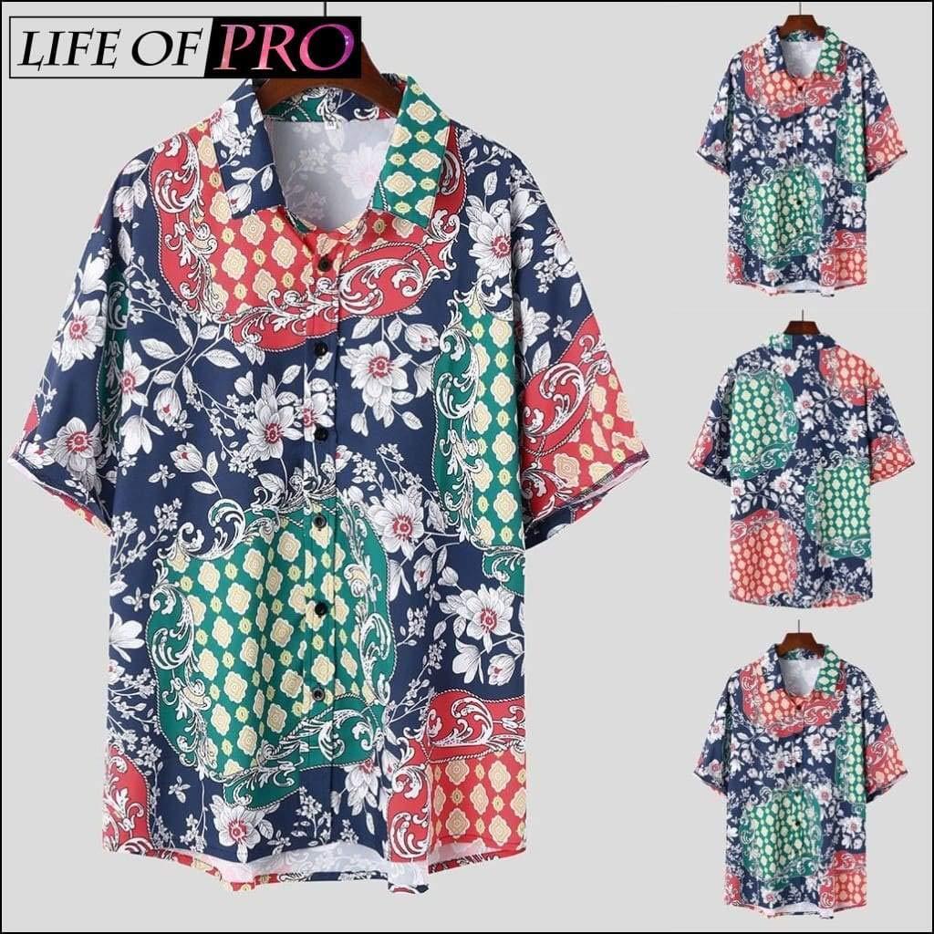 2019 Men Ethnic Printed Colorful Stripe Short Sleeve Loose Shirt Abbigliamento maschile Dropshipping 15