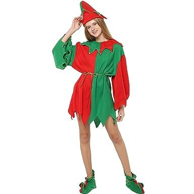 0e9ff86caf4 Amazon.com: EraSpooky Women Christmas Santa Elf Costume for ...