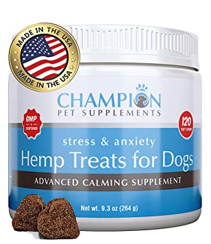 Calming Treats for Dogs   USA Made   Hemp Oil Infused Soft Chews for Dog Anxiety Relief   Aids Stress, Fireworks Anxiety, Storms, Barking, Separation ...