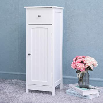 Amazon Com Iwell Small Bathroom Floor Storage Cabinet With 1 Drawer Free Standing Kitchen Cupboard Wooden Cabinet With 1 Door White Furniture Decor