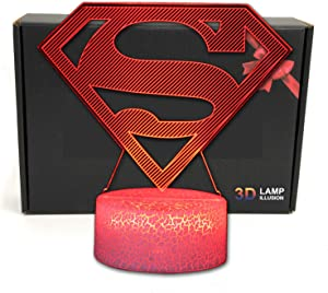 LED Superhero 3D Optical Illusion Smart 7 Colors Night Light Table Lamp with USB Power Cable (Superman Logo)