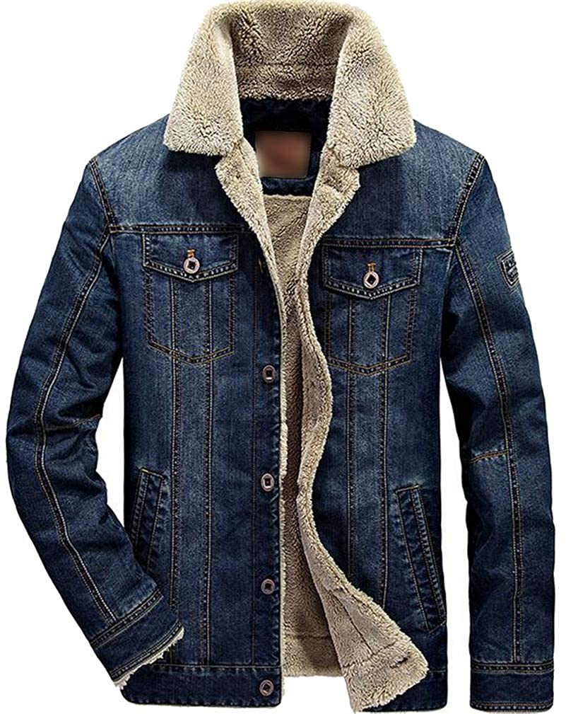 Macondoo Mens Fleece Quilted Lapel Neck Denim Faux Fur Lined Jacket Anoraks Parka Coat