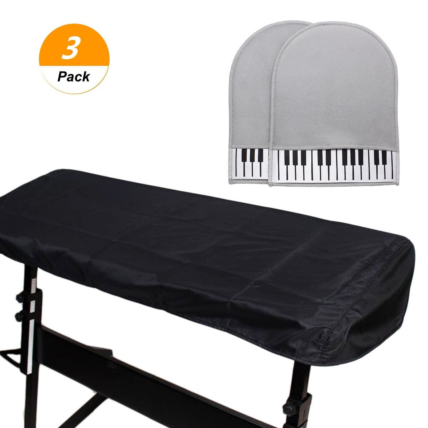 SelfTek 88 Keys Electronic Piano Keyboard Cover Stretchable Keyboard Dust Covers with 1 Pair of Cleaning Gloves