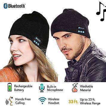 Cotop Fashion Bluetooth en tricot bonnet avec écouteurs stéréo et  microphone mains libres Talking Bonnet chaud 29c57a81876