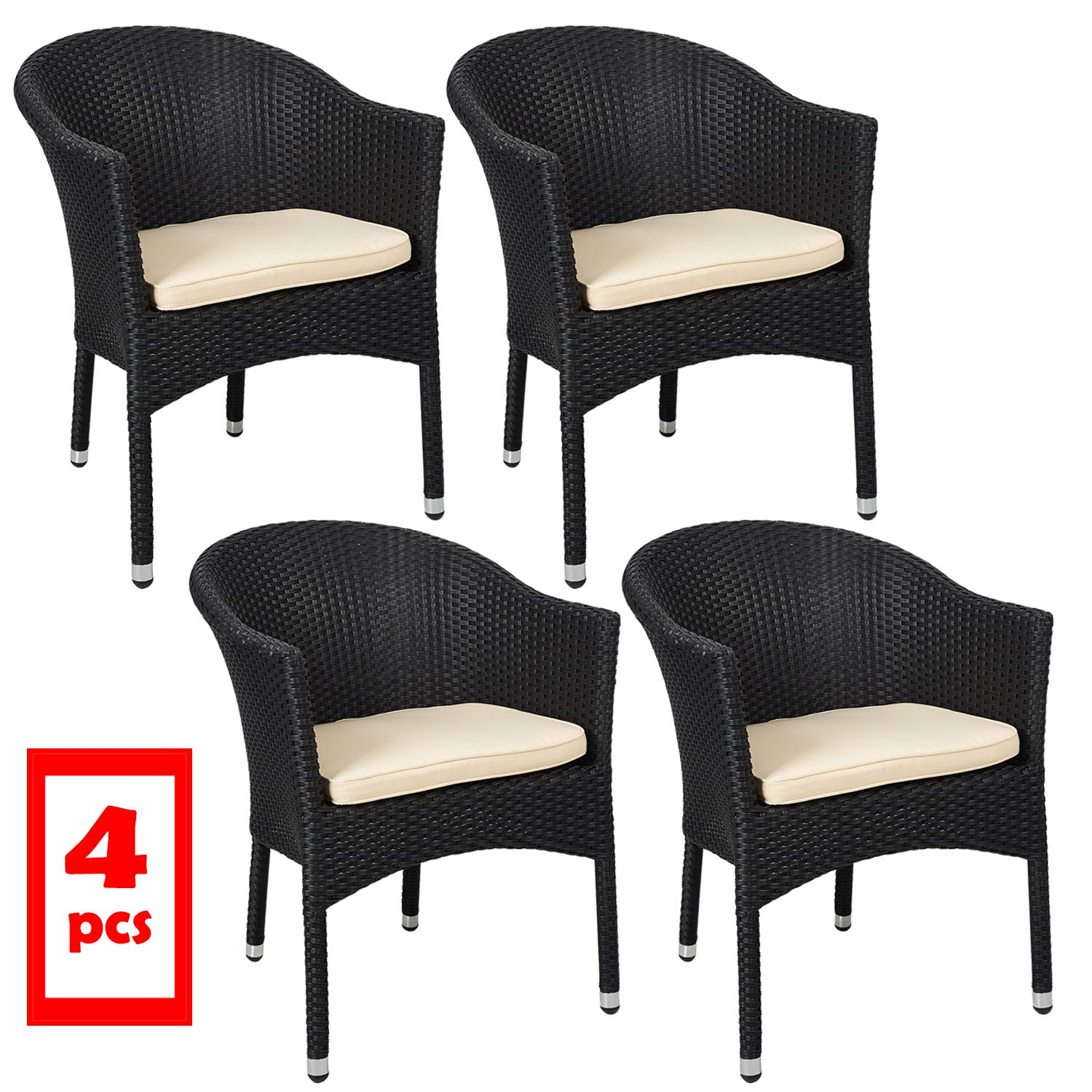 Amazon com livebest wicker chair with cushions accent armchair for patio dining living room stackable set of 4 black garden outdoor