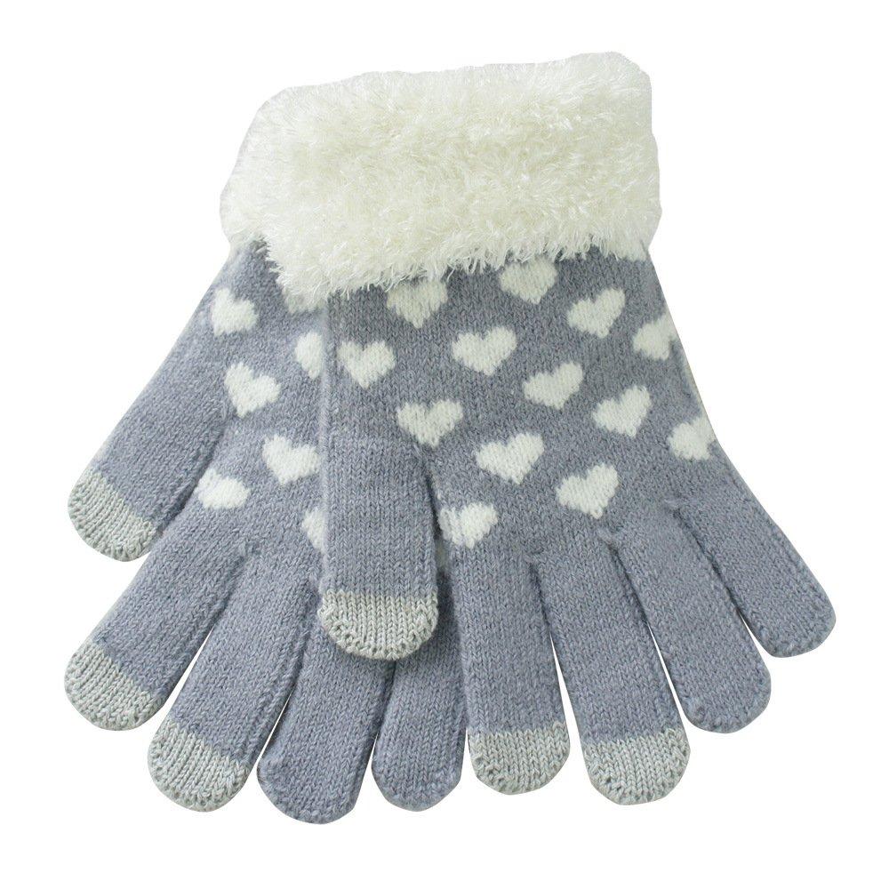 TININNA Inverno Caldo Carina Amore Cuore lavorato a maglia knit touchscreen Guanti Tocca schermo Guanti Grigio CEU0163E