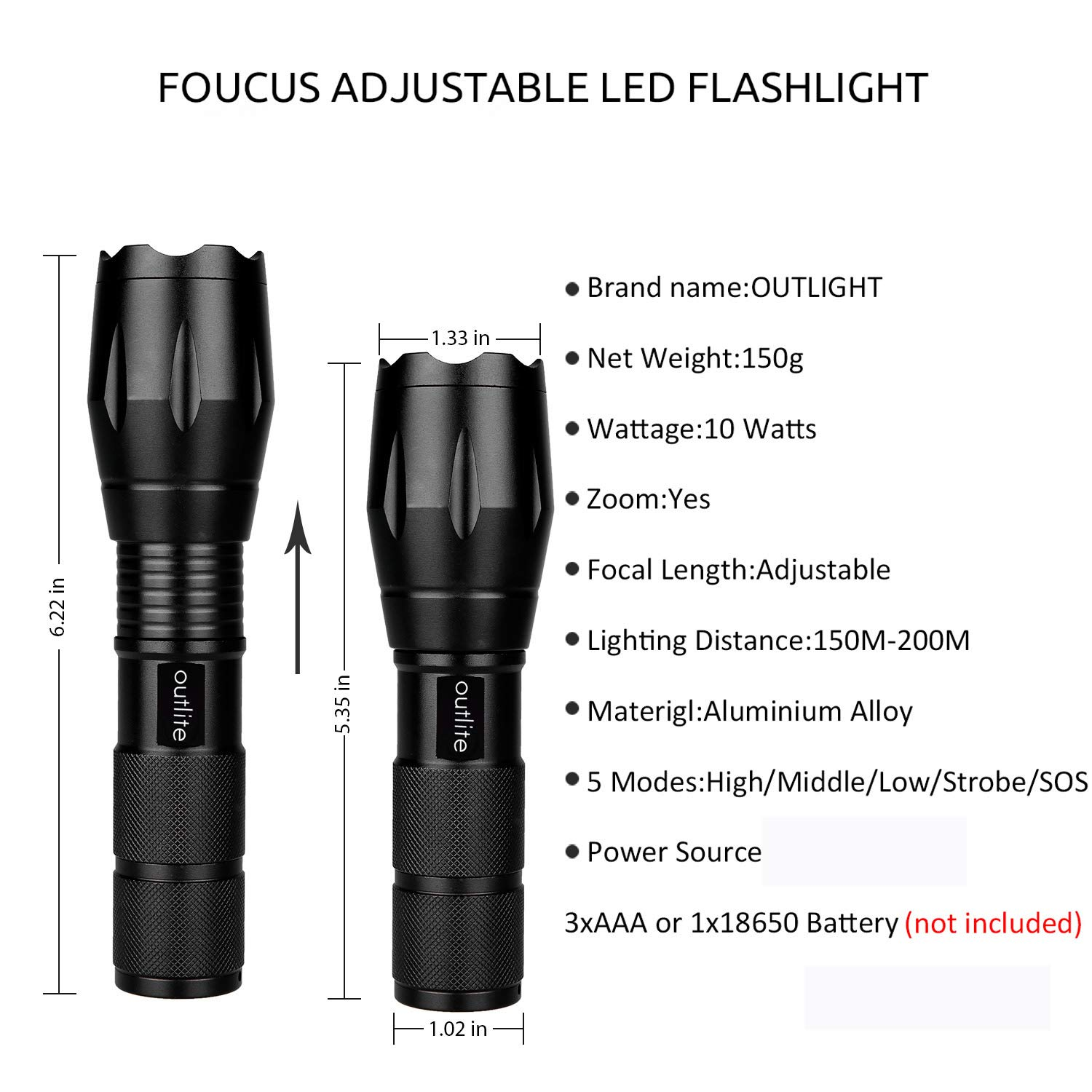 Outlite A100 Portable Ultra Bright Handheld LED Flashlight with Adjustable Focus and 5 Light Modes, Outdoor Water Resistant Torch, Powered Tactical Flashlight for Camping Hiking etc by outlite (Image #3)