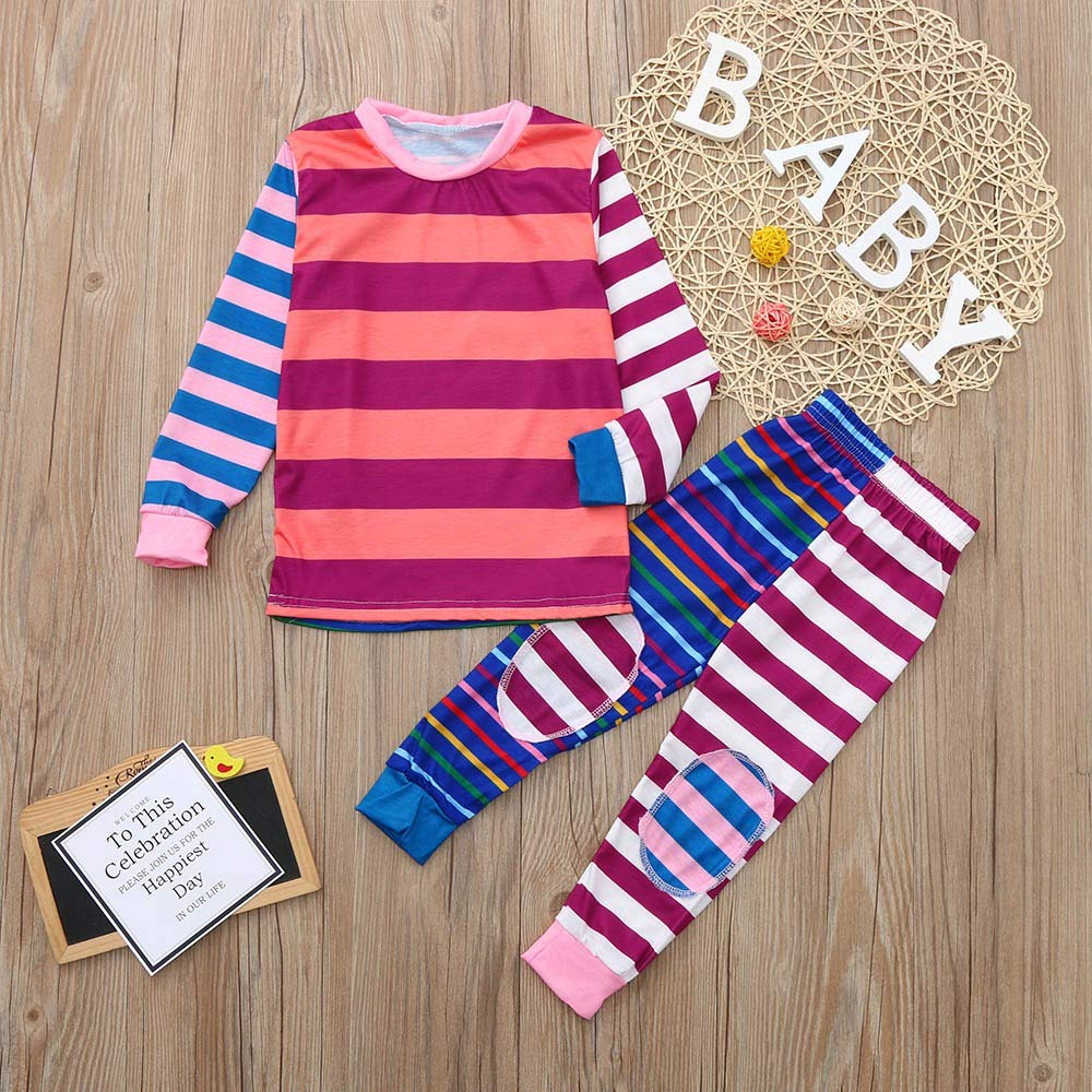 Inverlee Christmas Toddler Baby Long Sleeves Stripe Print Romper Jumpsuit Family Clothes