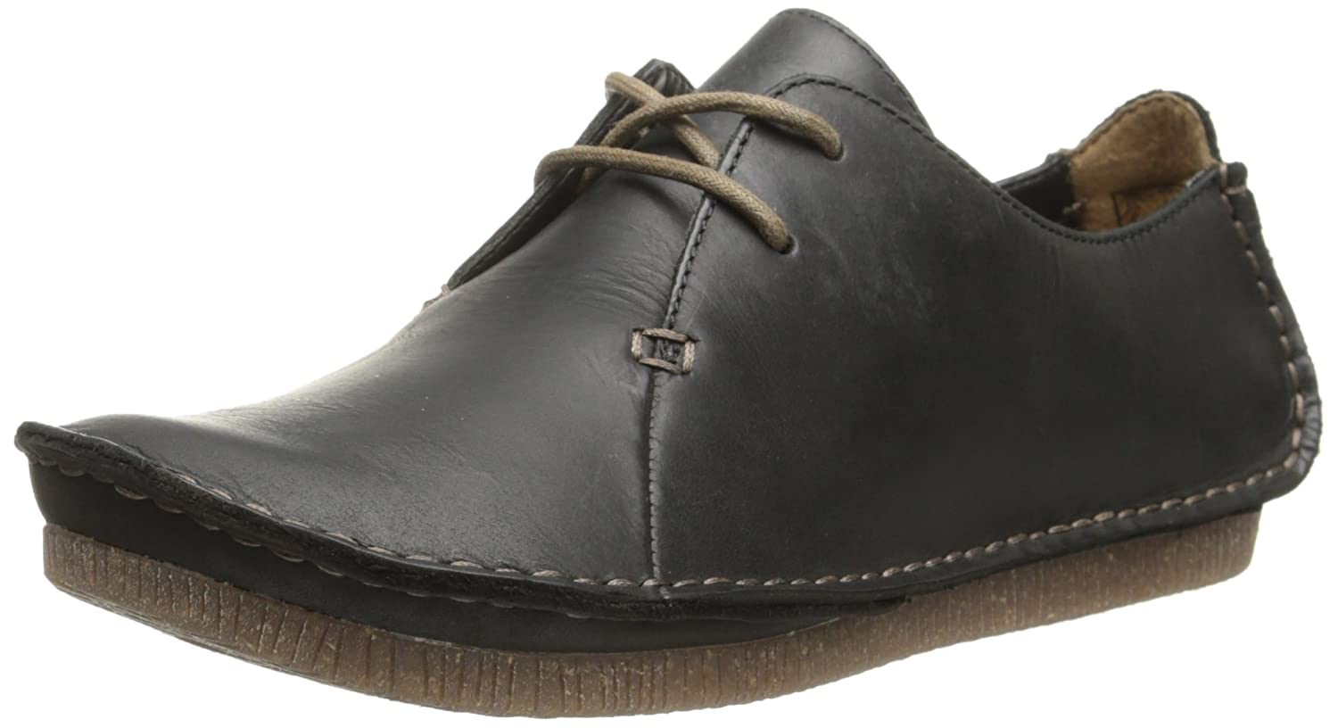 Black Leather Clarks Women's Janey Mae Oxford