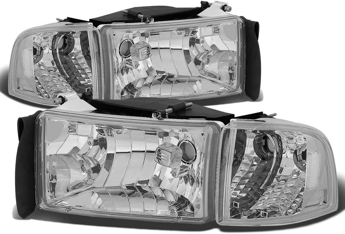 4Pcs Black Housing Clear Corner Headlight Corner Light Lamps Kit Replacement for Dodge Ram 1500 2500 3500 2nd Gen 94-02