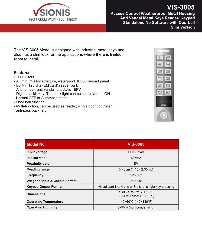 Visionis VIS-3005 Access Control Weatherproof Metal Housing Anti Vandal Metal Keys Reader/Keypad Standalone No Software 2000 Users with Doorbell Slim Version by Visionis
