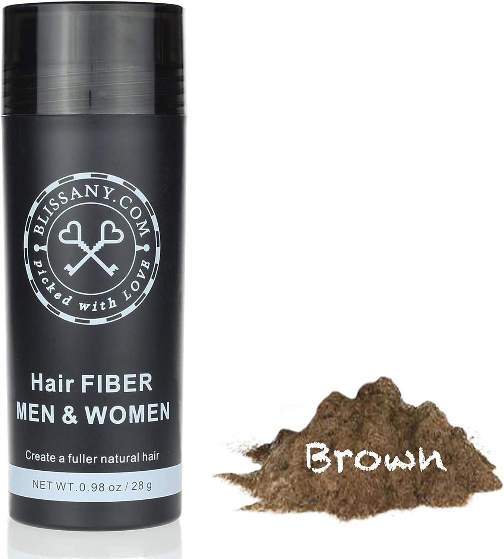 BLISSANY Fibras capilares - Engrosamiento del cabello - Cabello desparramado - Polvo capilar - Fibras capilares para hombres y mujeres - Pelo grueso inmediatamente atrás, 28g (marrón)