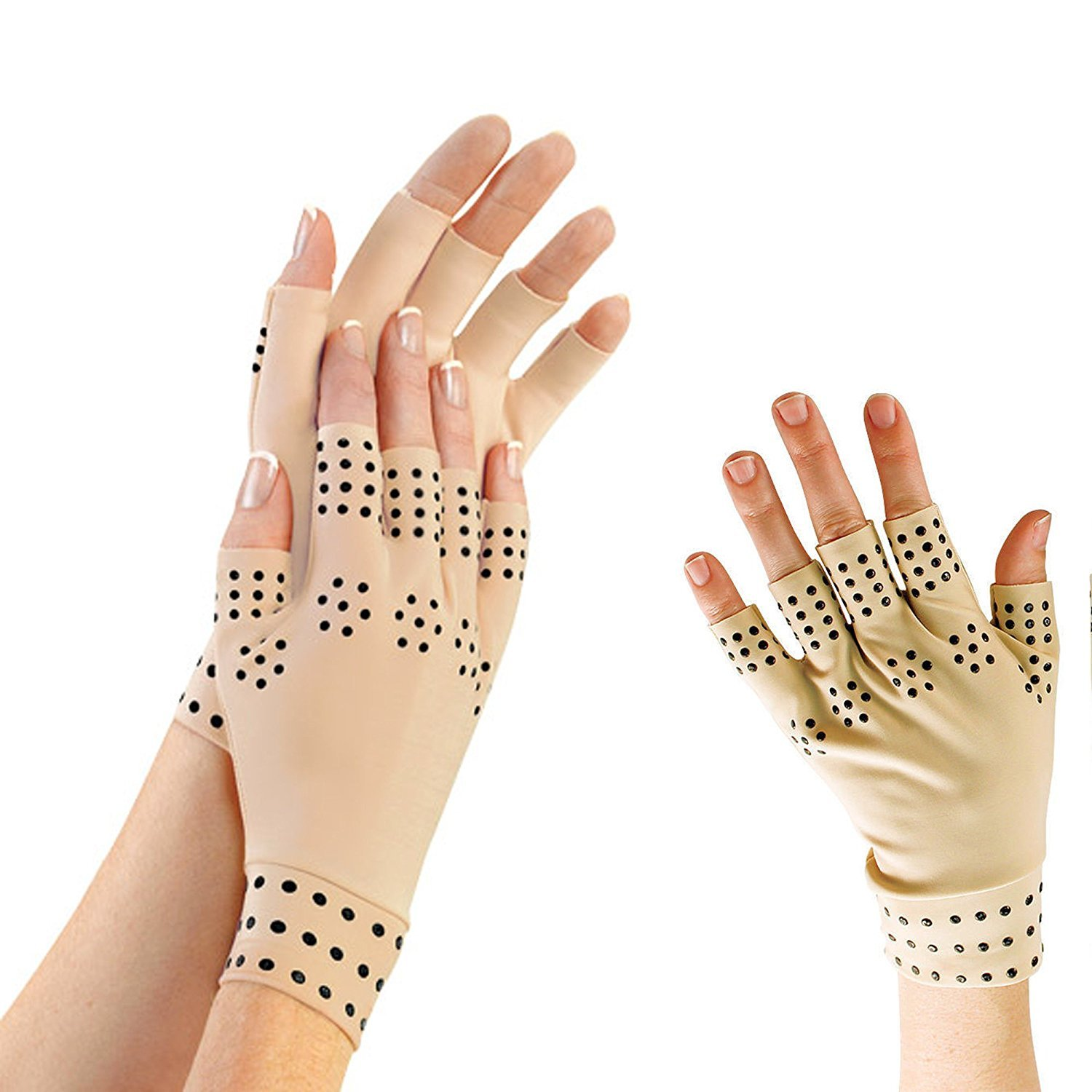 Unisex Medical Grade Pain Away Arthritis Relief Support Glove with Magnetic Therapy - Nude
