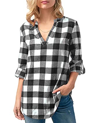 2a6d7fef80 Kyerivs Women's Buffalo Check Plaid Shirts V Neck Roll Up/Long Sleeve  Casual Blouse Tops