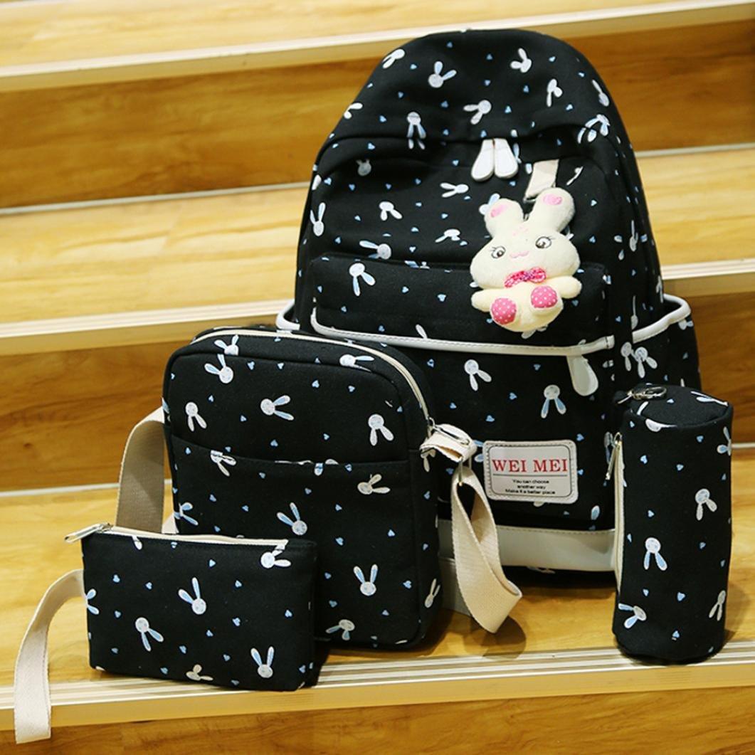 DDLBiz 4 Sets Women Girl Rabbit Animals Travel Backpack School Bag Shoulder Bag Handbag (Black)