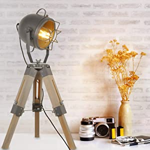 Industrial Tripod Table Lamp Adjustable Height, Grey Old Wood Three Legs Floor Table Lamp for Bedside Rustic Decor, Cinema Searchlight Farmhouse Vintage Standing Lights for Bedrooms (with no Bulb)