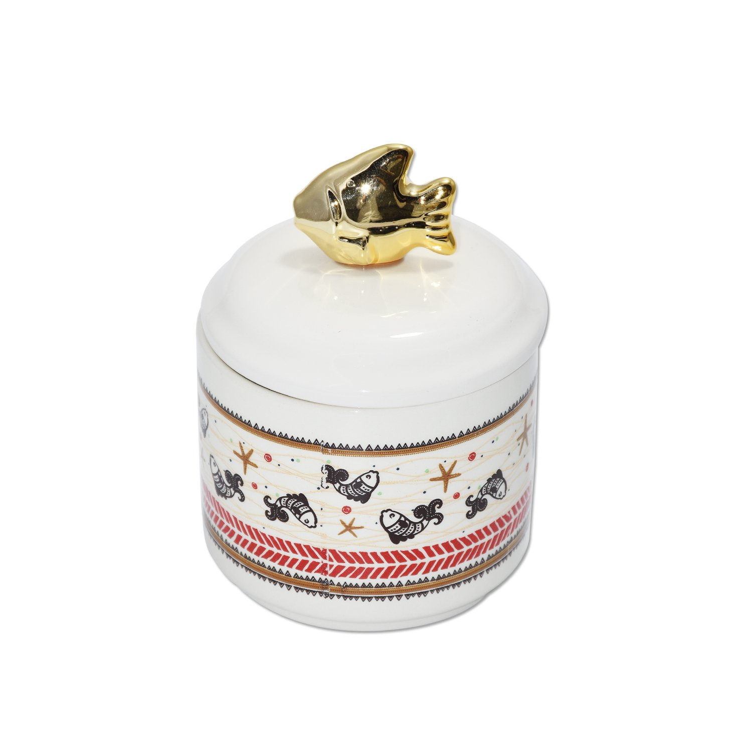 wdfpets 17.08 oz Ceramic Pet Food Treat Jar, Gold Fish Cover(NO AIR Tight),4 x 4 x 5.5 inches Cat Pet Food jar with Vivid Fish Decal(White)