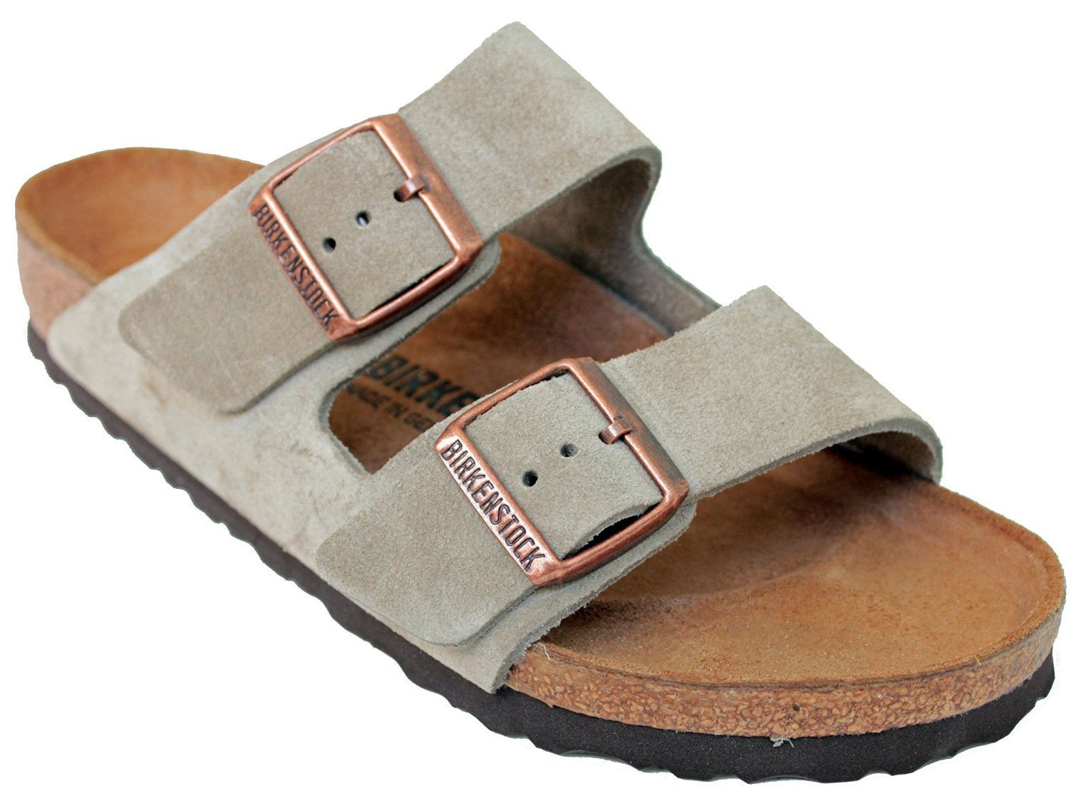 Birkenstock Arizona 2-Strap Suede Leather Sandals, Taupe (Light Sandy Beige Yellowish-Brown Color), Unisex, 38 N Narrow Width (7-7.5 US Women)
