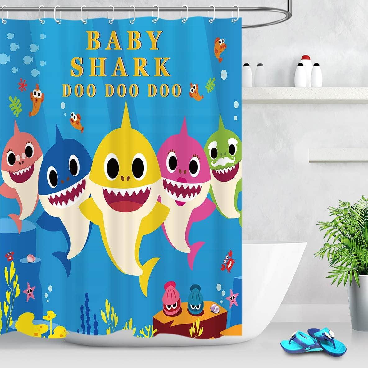 LB Cute Cartoon Fish Shower Curtain Blue Underwater Sea World Starfish Coral Reefs Kids Bathroom Curtain Decor Hooks Included,60x72 inch Polyester Fabric Waterproof,10 Holes