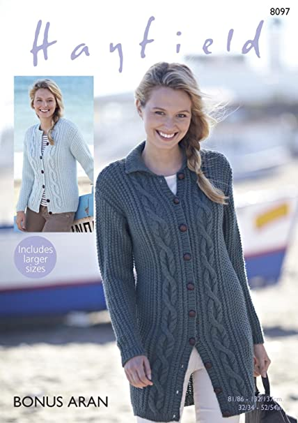 20e8d5072c9d Sirdar 8097 Knitting Pattern Womens Cable Cardigans in Hayfield Bonus Aran   Amazon.co.uk  Kitchen   Home