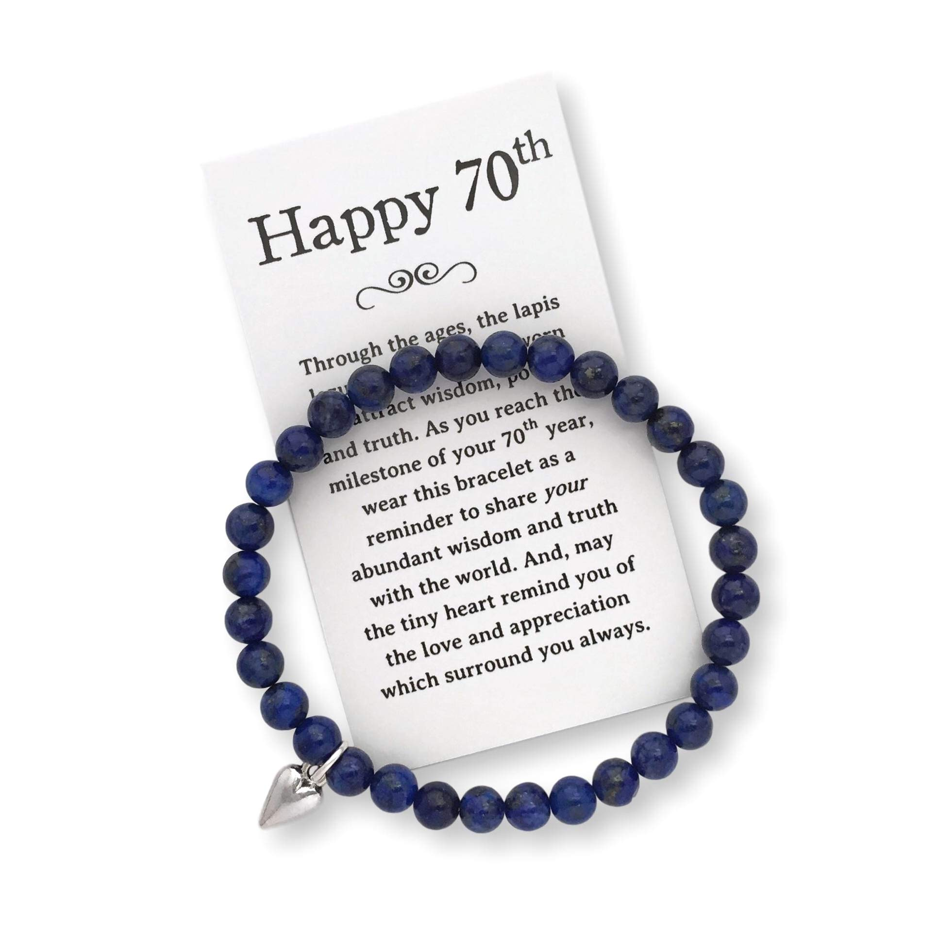 70th Birthday Gift for Women - 70th Jewelry Bracelet with Box, Bow and Card by Birthday Jewelry