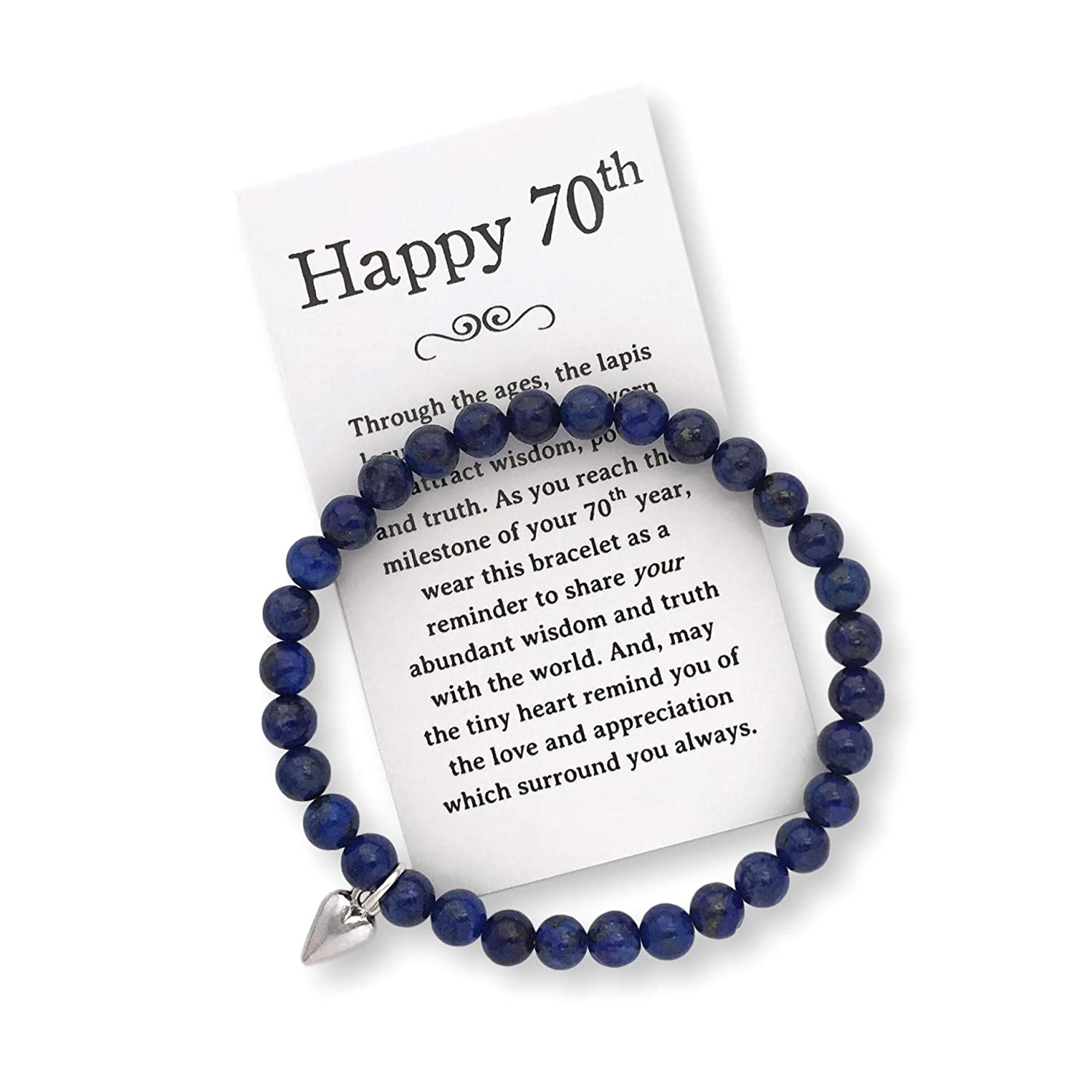 70th Jewelry Bracelet with Box Bow and Card 70th Birthday Gift for Women