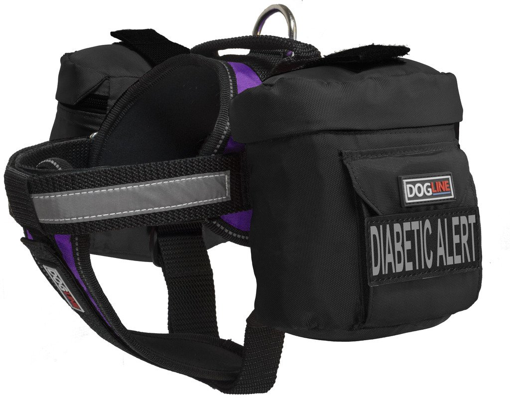 Dogline Unimax Multi-Purpose Vest Harness for Dogs with 2 Removable DIABETIC ALERT Patches and 2 Removable Side Utility Bags (Purple, Medium (22'' - 30''))