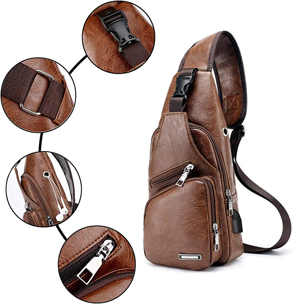 Men/'s Sling Backpack Quality Waterproof Crossbody Strap Bag USB Port Sport Bags