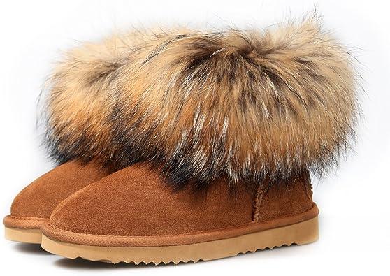 Ausland 9251 Snow boots casual scamosciata e pelle di volpe stivaletto donna