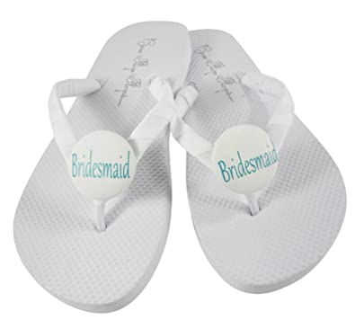 fd5623a4c White Bridesmaid Flip Flops- Choose Colors- Wedding Flip Flop Sandals for  The Bridal Party