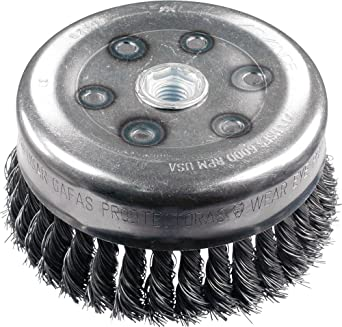 4 Diameter 9000 Maximum RPM PFERD 82524 Single Row Power Knot Cup Wire Brush with External Nut and Standard Twist Carbon Steel Bristles Threaded Hole 5//8-11 Thread 0.035 Wire Size