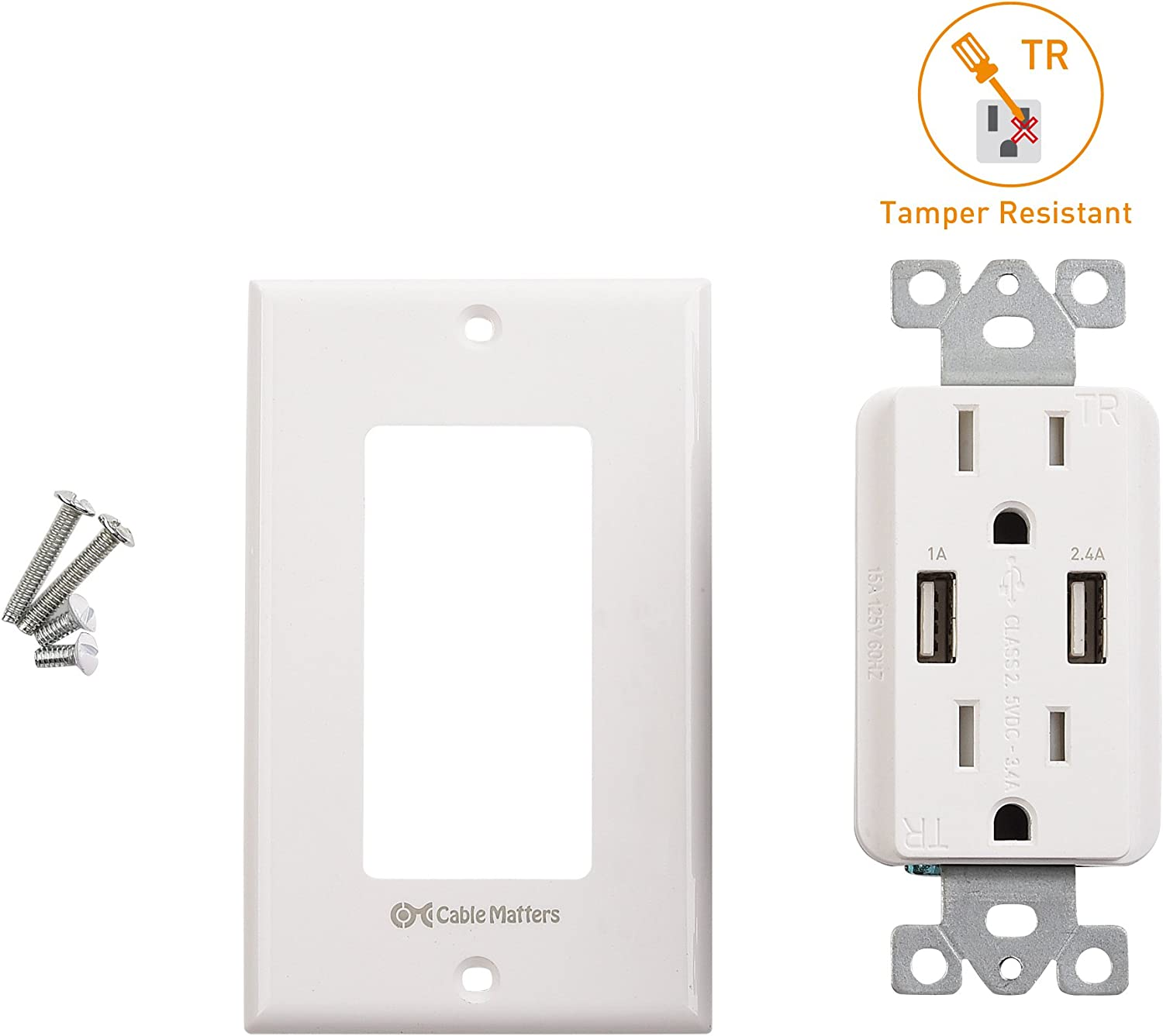 Cable Matters Tamper Resistant Duplex AC Outlet with 3.4A USB Charging and Faceplate 402021-WHT
