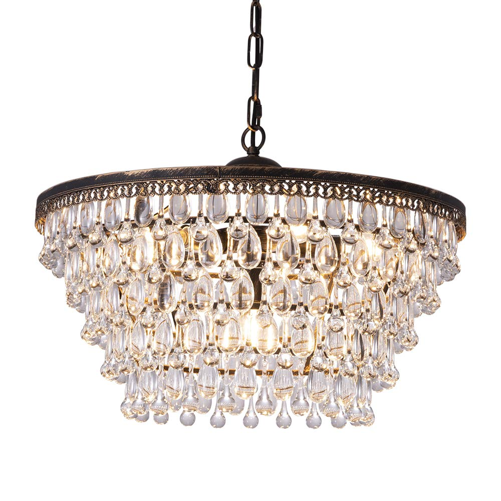 Wellmet Crystal Chandeliers, 6 Lights 5 Tiers Crystal Light, Adjustable Ceiling Light, Modern Chandelier Lighting Fixture for Bedroom, Hallway, Bar, Kitchen, Bathroom, Antique Bronze, W19.69-inch