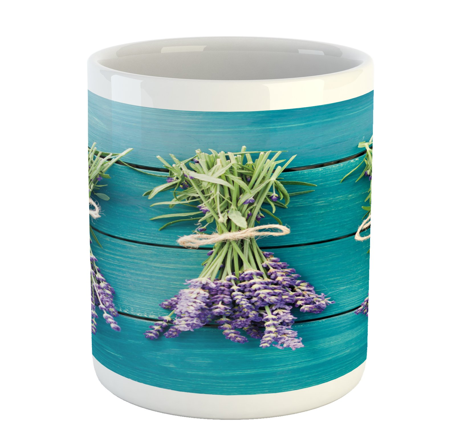 Lunarable Lavender Mug, Fresh Lavender Bouquets on Blue Wooden Planks Rustic Relaxing Spa, Printed Ceramic Coffee Mug Water Tea Drinks Cup, Sky Blue Lavender Green