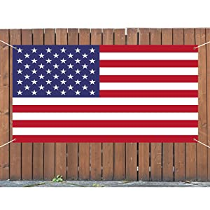 American Flag - 4th of July Decorations Outdoor - Hanging American Large Banners Stars and Stripes Porch Sign -Patriotic Decor Party Supplies for July Fourth Memorial Day