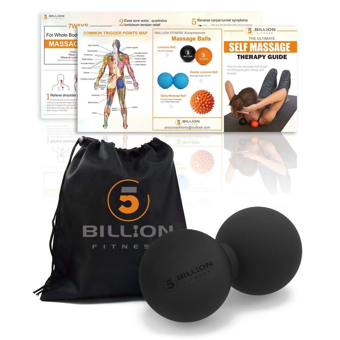 5BILLION Double Massage Ball - Pelota Lacrosse & Balon Fitness para Liberación Miofascial & Masaje Muscular - Herramienta de Masaje de Alta Densidad ...