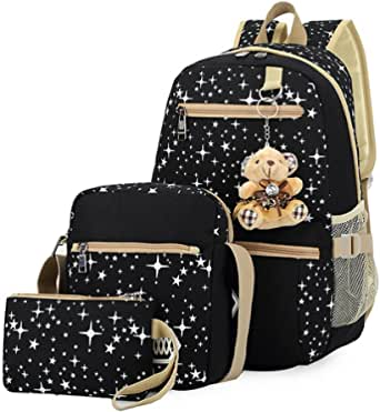 3 Pieces Canvas Backpack Set Galaxy Star Patterned Bookbag Laptop School Backpack for Girls Black