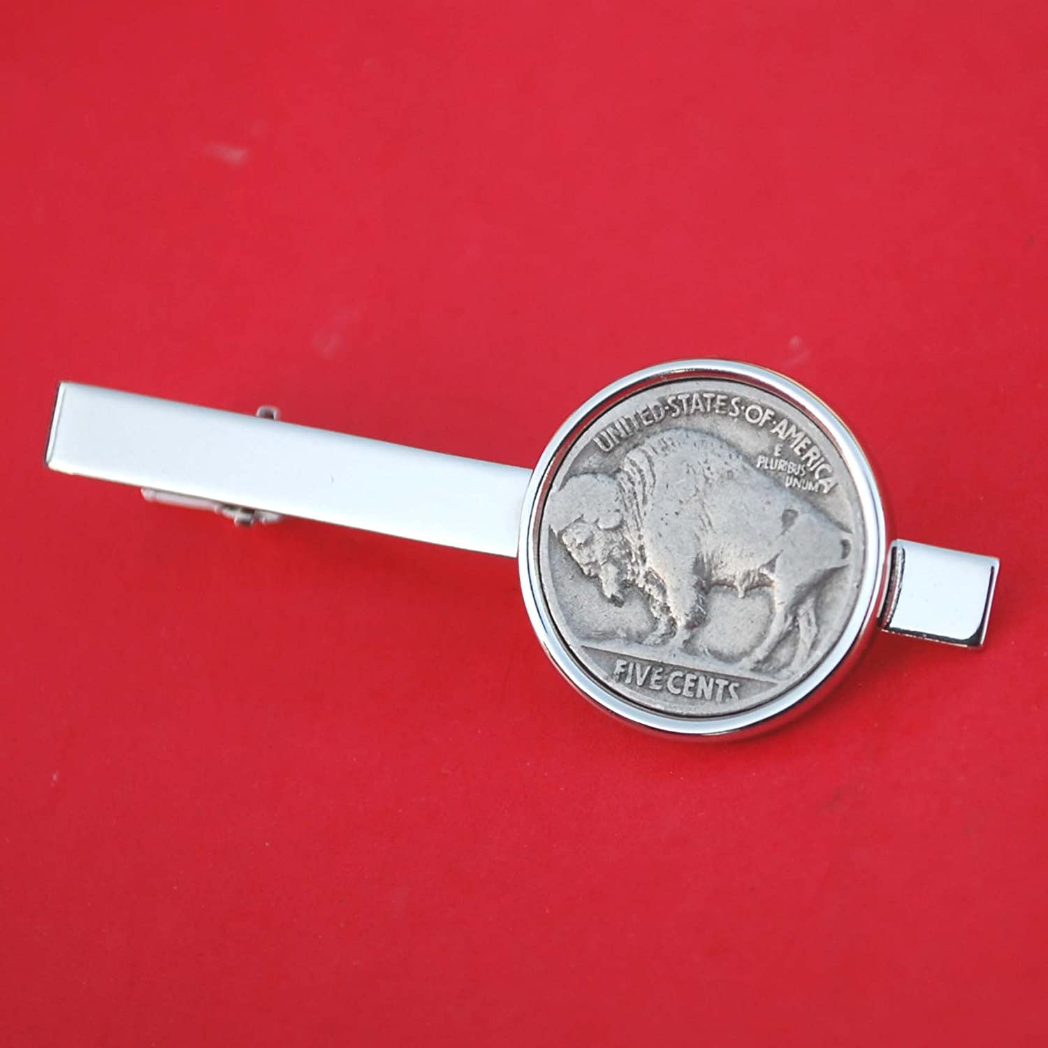 US 1913 ~ 1938 Indian Head Buffalo Nickel 5 Cent Coin Silver Plated Tie Clip Clasp NEW