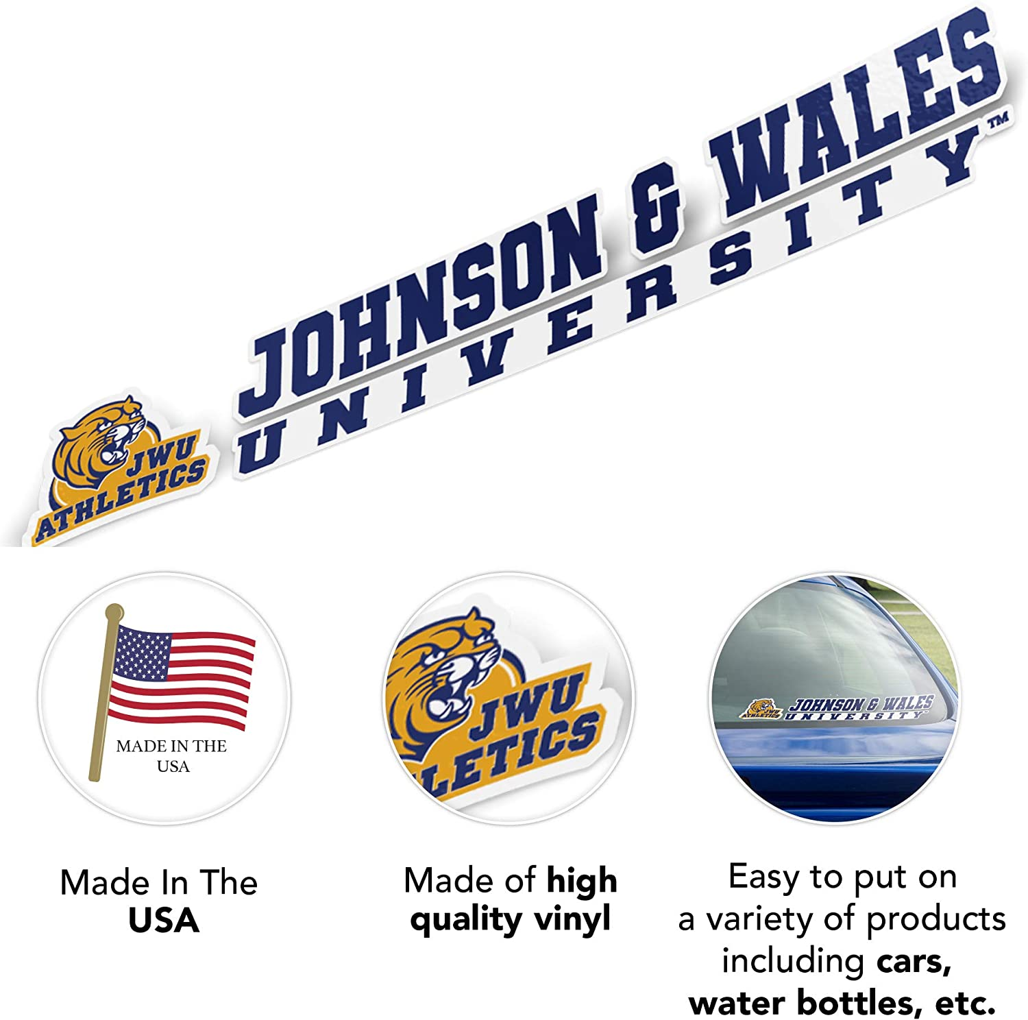 Johnson /& Wales University JWU Wildcats NCAA Name Logo Vinyl Decal Laptop Water Bottle Car Scrapbook 8 Inch Sticker