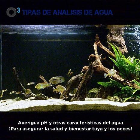 O³ Tiras De Analisis De Agua 50 Tiras 6 en 1 | Test Agua Acuario 6 En 1 - Apto Paria Piscina, SPA, Acuarios | Analizador Agua - pH - Cloro Y Otros Factores: ...