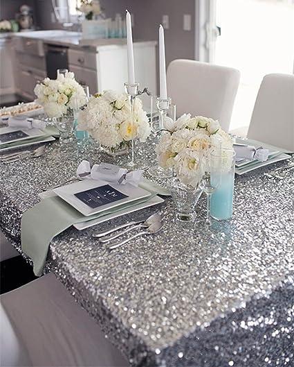 Charmant B COOL 50u0026quot;x50u0026quot; Square Silver Sequin Tablecloth Thanksgiving  Tablecloth Sparkle Tablecloth Glitz