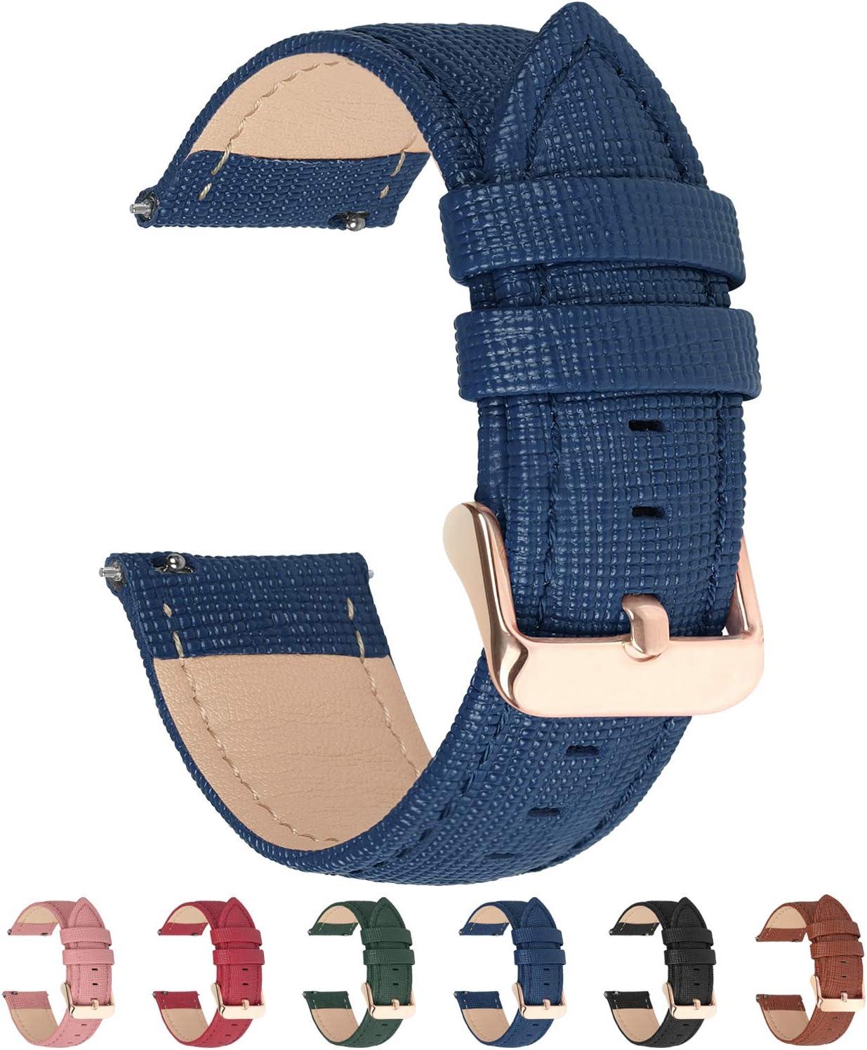 Fullmosa 6 Colores para Correa de Reloj, Cross Piel Correa Huawei Samsung Correa/Banda/Band/Pulsera/Strap de Recambio/Reemplazo 18mm 20mm 22mm 24mm,Azul Oscuro 22mm
