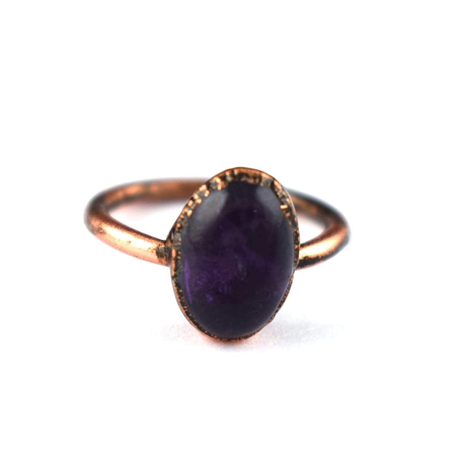 c1f79b70593dce Amazon.com: 1 PC Amethyst Gemstone Brass Electroplated Ring, Rose Gold  plated Ring, Rings For Woman GFS2156: Jewelry